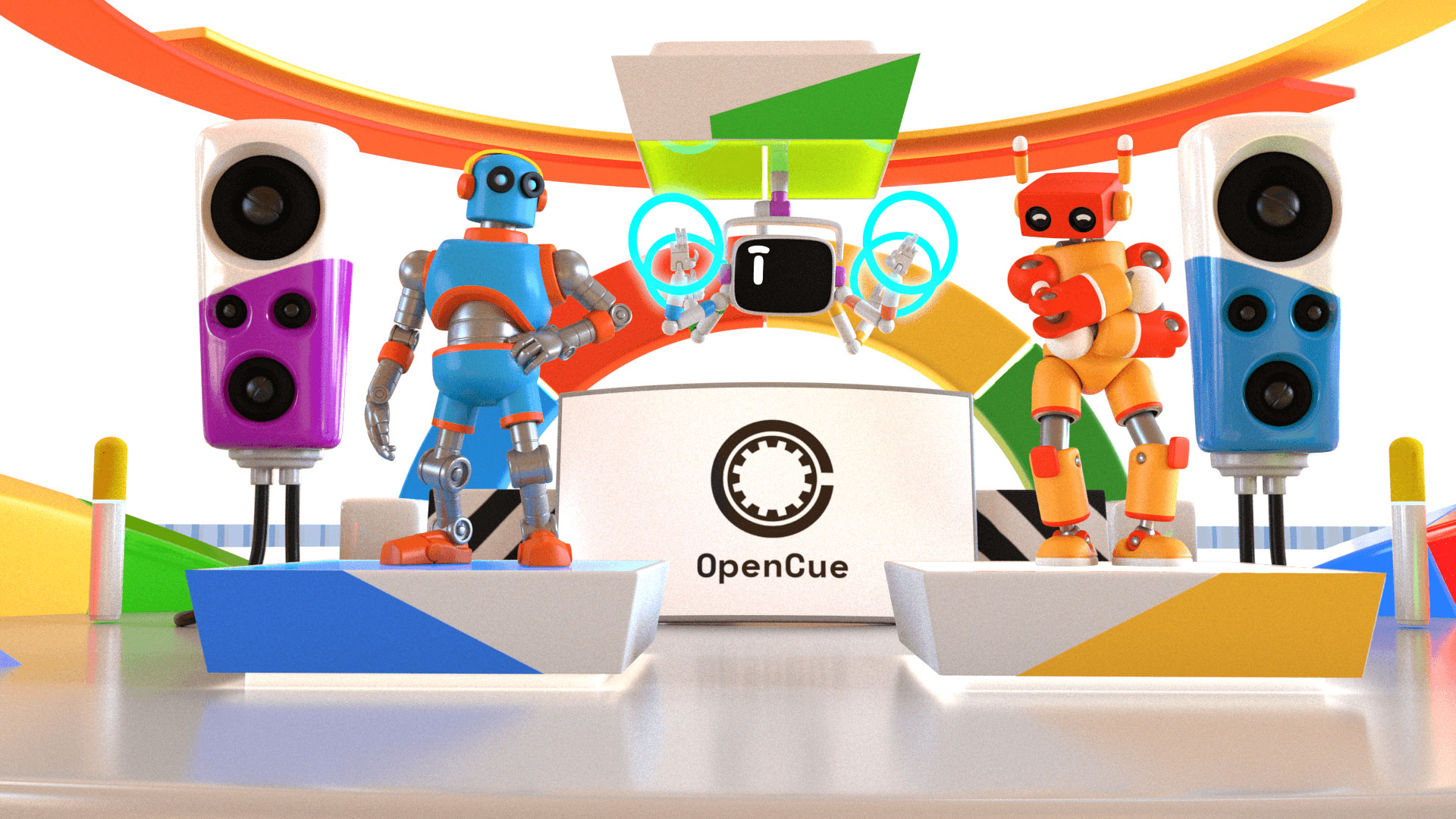 Robots posing with speakers and OpenCue logo